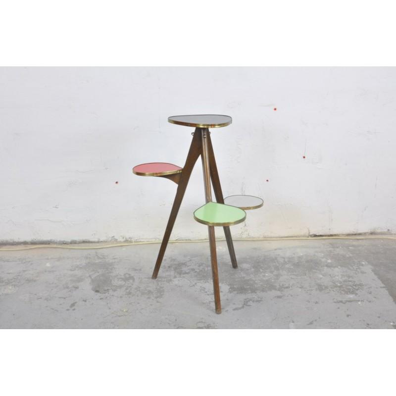porte plantes bois et formica ann es 50 polychrome vintage design. Black Bedroom Furniture Sets. Home Design Ideas