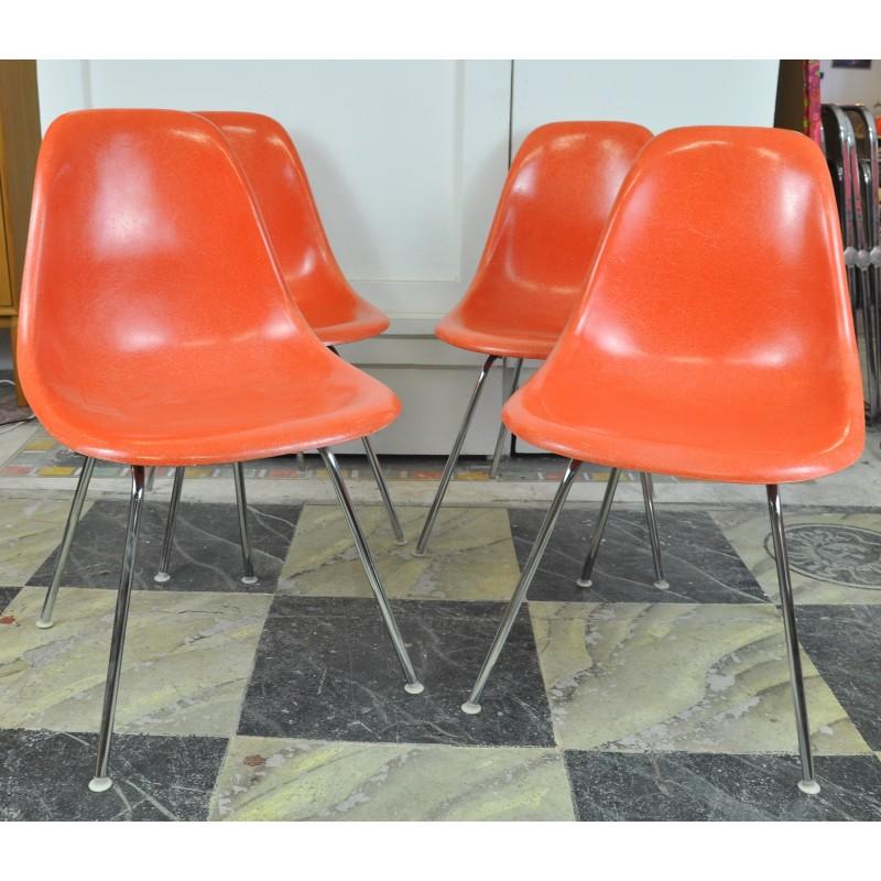 chaises eames dsx fibre de verre orange. Black Bedroom Furniture Sets. Home Design Ideas