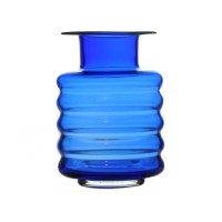 Vase en verre bleu années 60