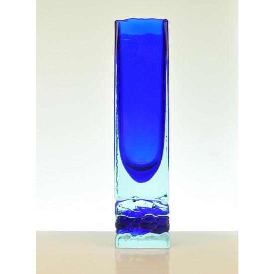 Vase vintage, verre bleu et clair