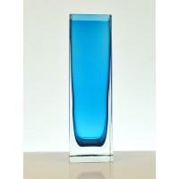 Vase cubique bleu années 60